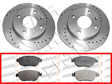 FOR PEUGEOT 206 2.0 GTi 180 FRONT DRILLED AND GROOVED BRAKE DISCS MINTEX PADS