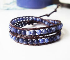 kyanite stone leather 2 wrap bracelet,women bracelet,size 12-15''handmade