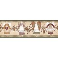 Wallpaper Border Country Angels Stars Winterberries Garland on Cream Green Check