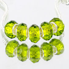 Crystal Olive green 5pcs MURANO glass bead LAMPWORK For European Charm Bracelet