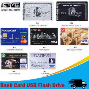 USB 2.0 Flash Drive Bank Credit Card Model Memory Stick Thumb Pen 2TB 64GB LOT