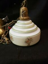 Vintage Schoolhouse Pendant Light Globe Original basket of flowers milk glass