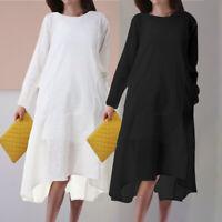 Women Cotton Midi Smock Dress Long Sleeve Casual Kaftan Tunic Long Top Plus Size