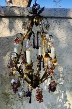 VTG ITALIAN MURANO GLASS FRUITS & FLOWERS GOLD GILT TOLE w CRYSTALS CHANDELIER