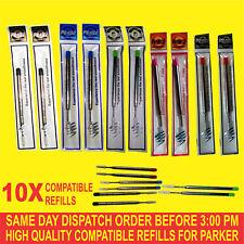 10X Parker Compatible Refills for Ballpoint Medium Black/Blue/Red/Gren/Pink