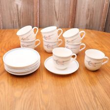 8 Arcopal France Flower Pattern Cups and Saucers Tea Coffee Mug