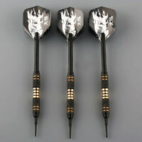 3 Stück schwarz Coated Solid Brass Barrel Plastik Soft Tip Dart  +Flights ToolA+