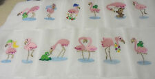 PRETTY PINK FLAMINGO'S Monogrammed Quilt Blocks-Set of 12 Asst Blocks-Cotton