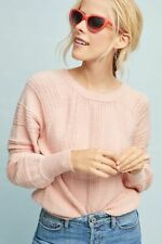NWT ANTHROPOLOGIE MEADOW RUE BOUCLE PULLOVER BOATNECK SWEATER TOP PINK M MEDIUM