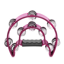 Double Row Jingles Half Moon Musical Tambourine Percussion Drum Pink Party KTV