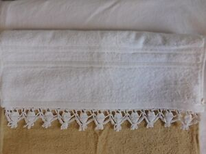 Bath Hand Towel with Crocheted Edging, White, with White Bobble Edging