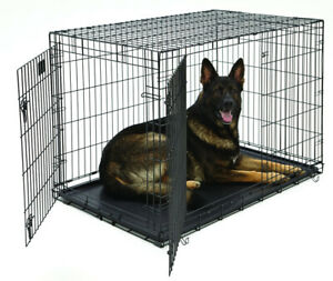 XL Dog Crate | MidWest Life Stages Double Door Folding Metal Dog Crate
