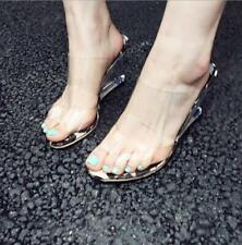 Women Sexy Leopard Clear Transparent Peep Toe Slipper Sandals Wedge Heel Shoes N