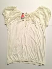 PEACOCKS WOMENS TOP CREAM / WHITE LACE DETAIL SHORT SLEEVES CASUAL SIZE 18  NEW
