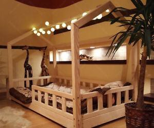 Lit cabane, Lit pour enfants,lit d'enfant,lit cabane avec barrière, 5 jours 🚚