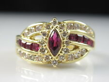 18K Ruby Diamond Ring Yellow Gold Estate Marquise Fine Jewelry Size 6