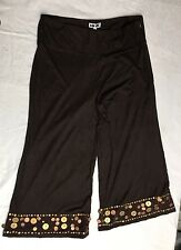 Brand New Kaktus Brown Capris With Sequins Detail Size Large