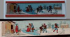 Ancienne plaque verre magic lanterne magique photo fin XIX° jeux neige traineau