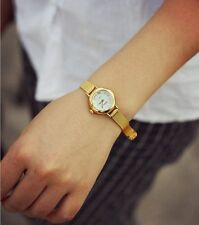 Fashion Womens Golden Small Round Dial Bracelet Lady Quartz Analog Wrist Watch