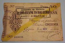 1936 GIJON 50 PESETAS BANCO DE ESPAÑA RESELLO VISIBLE BANKNOTE SPAIN CIVIL WAR
