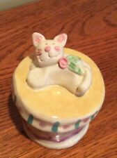 Trinket Box by Midwest of Cannon Falls - with Lid, Cat, Tiny Mouse Inside, Mint