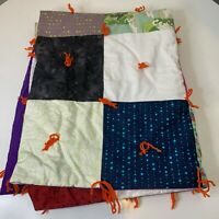 vintage quilt blanket square patches hand tie multi colored throw blanket