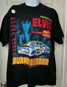 Elvis w/Rusty Wallace Competitors View Hunka Burnin Rubber Black TShirt XL New