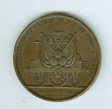 1858 Scarce BZ RAILROAD Inauguration Lyon, France to Geneva, Switzerland Medal