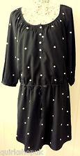 CLEMENTS RIBEIRO black dress with drawstring waist & mirrors M 12 NEW TAG£146