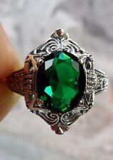 3ct Oval Cut *Green/Emerald* Sterling Silver Filigree Deco Design Ring Size 7