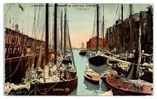 Early 1900s Largest Fish Market in United States, T-Wharf, Boston, MA Postcard