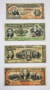 1913 - 1914  El Banco de Londres y Mexico 2, 5, 10, & 100 peso notes