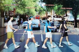 TENNIS STARS WALKING ACROSS ABBEY ROAD POSTER - Djokovic, Nadal, Murray, Federer