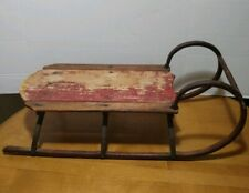 Antique 1900's Wood & Iron Metal Sub Runners Vintage Snow Winter Sled Sleigh