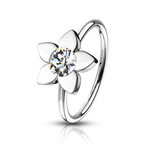 Nose Hoop Rings 316L Surgical Steel with flower and crystal