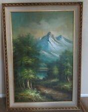 Lovely Large Framed OIL ON CANVAS LANDSCAPE PAINTING Mountains Lake and Trees