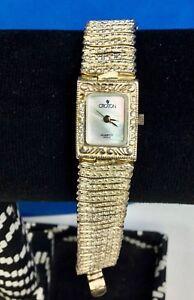 Vintage UNIQUE Croton Sterling Silver Case Bracelet Quartz Watch GORGEOUS