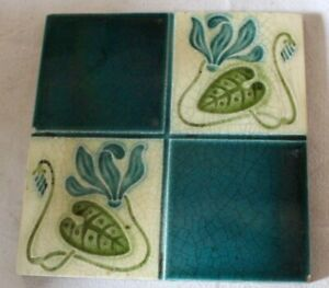 english art nouveau  stylised LILY PAD DESIGN antique tile b