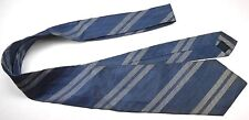 "No Brand Label Men's Vintage Tie 55"" X 3.5"" Blue w/ silver American Striped"