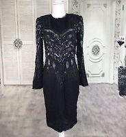 Vintage American Night Glam Heavily Beaded Silk Formal Cocktail Dress Womens XL