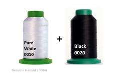 ISACORD MACHINE EMBROIDERY THREAD 1000M COMBO BLACK 0020, PURE BRIGHT WHITE 0010