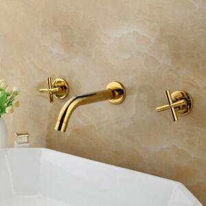 Golden Bathroom Vanity Basin Sink Mixer 3 PCS Wall Mounted Taps 2 Handles Brass