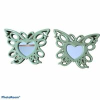 "2 Home Interiors Sage Green Butterfly Wall Mirror Scroll Hearts 8"" x 6"" Vintage"