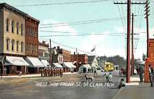 St Clair Michigan West Side Front Street Military Scene Antique Postcard K14672
