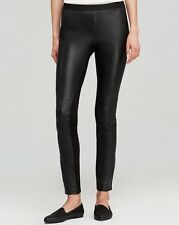 SZ 1X Eillen Fisher Black Viscose Stretch Ponte Leather Blocked Legging Pant NWT