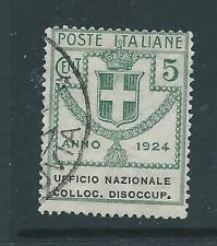 ITALY 1924 DISOCCUP 5c USED SASS 62 CAT E30 NICE