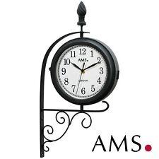 AMS 41 Wall Clock Quartz, Double-Sided and Screwbar, Weatherproof Metal Housing