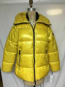 Calvin Klein Performance Oversized Hooded Puffer Jacket Chartreuse PF9J4826 NWT