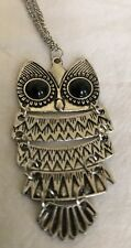 SILVER Crystal Owl Pendant Necklace Collier Chain Rhinestone Women Jewelry+++