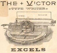 Victor Typewriter c 1890 Wheel Victorian Advertising TRADE CARD G Johnson Boston